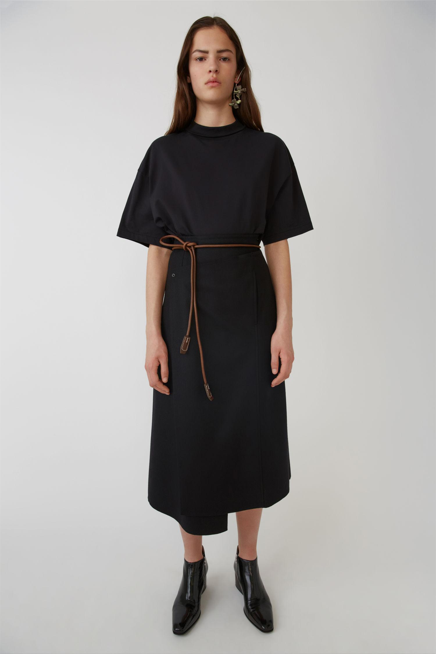 ACNE STUDIOS A-line wrap skirt black