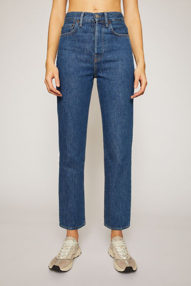 Acne Studios Mece Dark Blue Trash jeans are crafted from rigid denim that's stonewashed to give a time-worn appeal. They're shaped to sit high on the waist before falling into cropped, straight legs.
