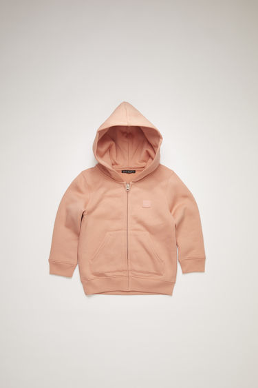 Acne Studios Mini Ferris Zip Face pale pink is a children's hooded sweatshirt with a centre front zipper closure.