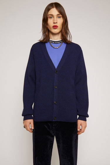 Acne Studios navy multi cardigan is knitted from fine-gauge merino wool with a melange finish and has a deep v-neckline and four-button closures.