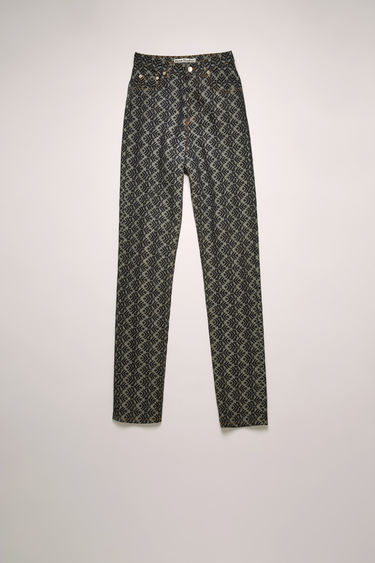 Acne Studios indigo blue trousers are crafted from rigid denim that's jacquard woven with a pinecone motif and shaped to a high-rise straight-leg silhouette with tobacco topstitching.