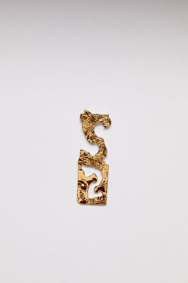 Acne Studios pendant is crafted from a hammered gold-tone brass and features a stencil of the letter 'S'  The pendant can be personalised with a chain necklace.