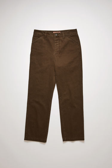 Acne Studios dark oak trousers are crafted to a relaxed silhouette with straight legs from stonewashed cotton-twill and finished with belt loops, slanted front pockets and two back patch pockets.