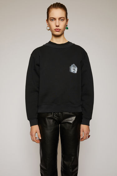 Acne Studios black sweatshirt is crafted from heavyweight brushed jersey and features a print of Acne Studios' headquarter on the chest.