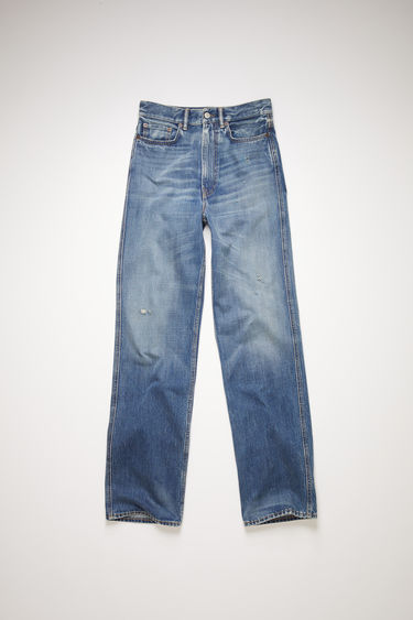 Acne Studios mid blue jeans are made from rigid denim with a high rise and a slim leg.
