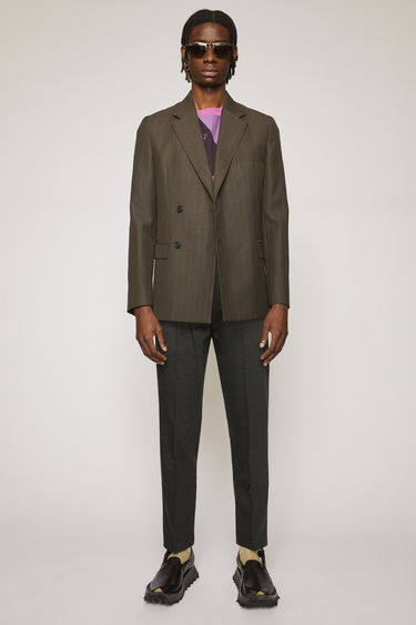 Acne Studios Ryder Wool Mohair dark grey melange trousers are shaped with an elasticised waistband and a faux fly front.