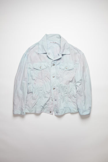 Acne Studios powder blue/lilac casual jacket is made of cotton with a subtle tie dye.
