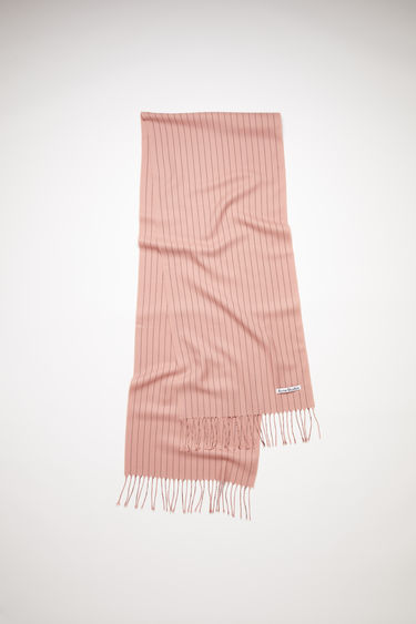 Acne Studios pink striped, fringed scarf is made of wool.