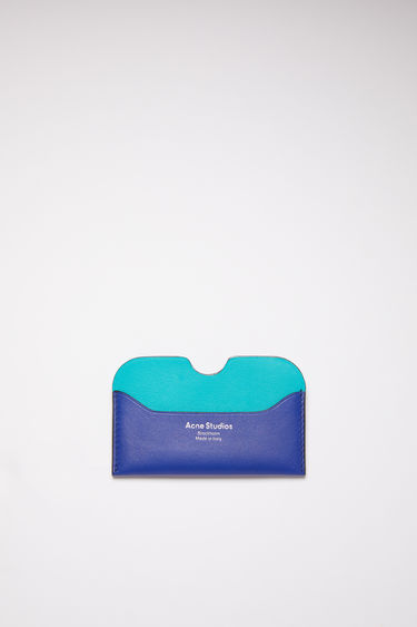 Acne Studios blue multi colour block card holder is made of soft grained leather with a silver logo stamp.