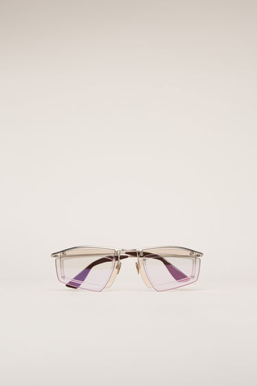 Acne Studios silver/light pink mirror sunglasses are crafted with a shield metal frame set with a double-layered tinted lenses and then finished with discreet logo lettering at the temple.
