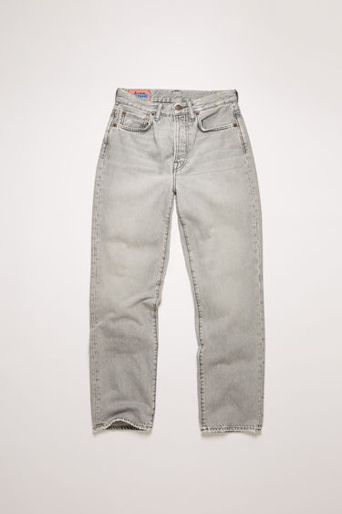 Acne Studios Mece Stone Grey jeans are crafted from rigid denim with a light stone wash and cut to a high-rise silhouette with cropped, straight legs.