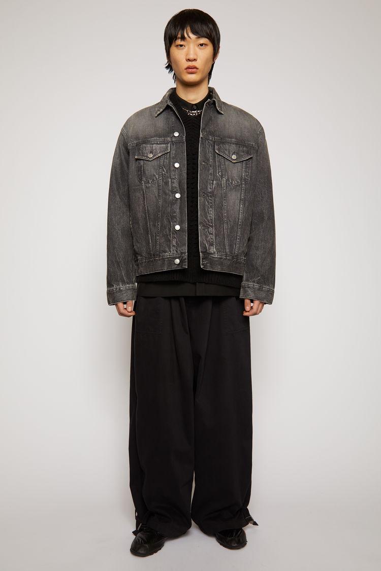 Acne Studios Wide-leg cotton trousers Black