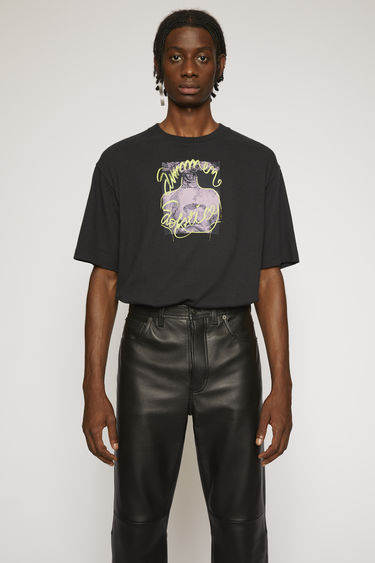 Acne Studios black t-shirt is cut to a boxy shape from lightweight jersey and printed 'Summer Solstice' in a handwritten-style on front.