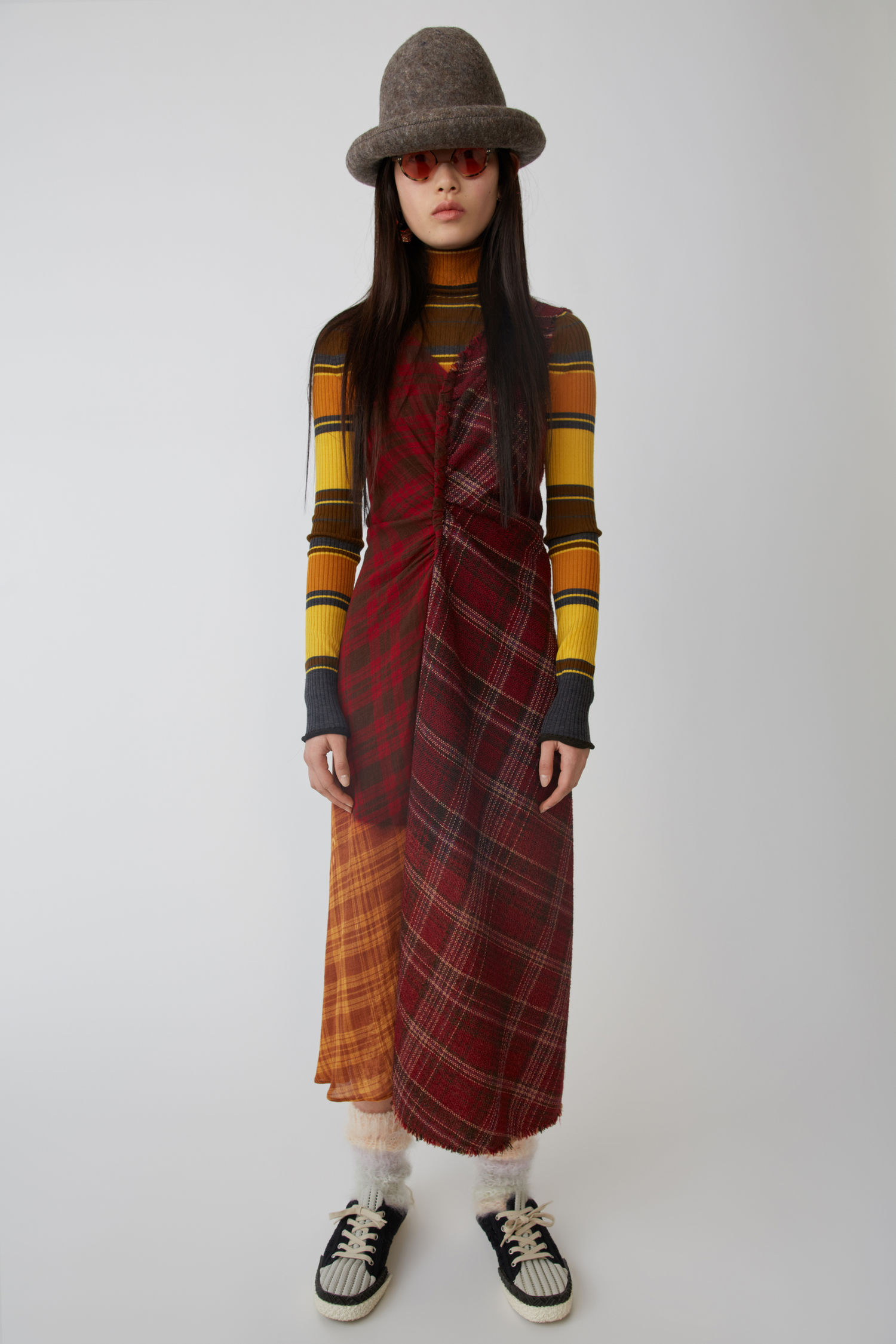 Patchwork Checked Wool-Tweed And Crepe Dress, Brown/Beige