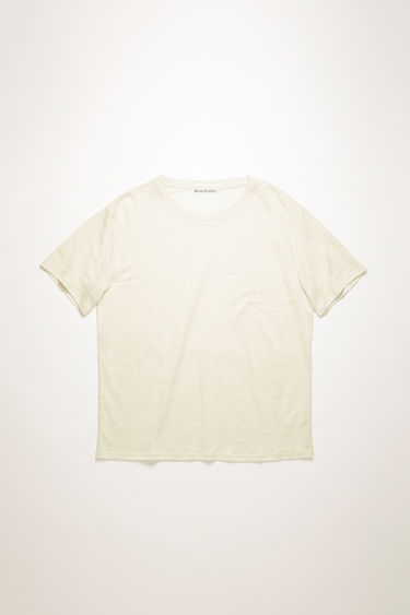 Acne Studios off white t-shirt is crafted from lightweight slubbed linen to a relaxed shape with dropped shoulders.