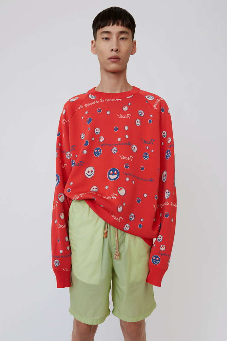 Patterned Sweater Ruby Red by Acne Studios