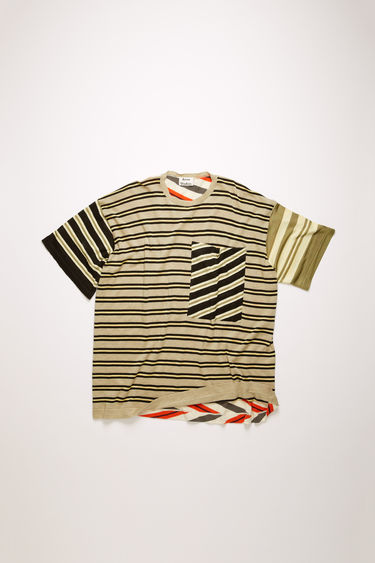Acne Studios beige/multi t-shirt is knitted from a fine gauge cotton blend and features a patchwork of striped panels. It's shaped to a relaxed fit with a crew neck and dropped shoulder seams.