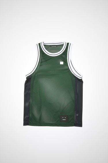 Acne Studios bottle green basketball-inspired jersey is made of mesh fabric with a contrasting ribbed crew neck, armholes, side panels, and embroidered face patch.