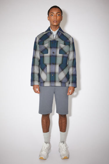 Acne Studios navy/grey shirt jacket has four front pockets and a classic fit.