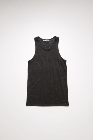 Acne Studios black sleeveless top is made from lighweight slubbed linen and framed with a scooped neckline with ribbed edges.