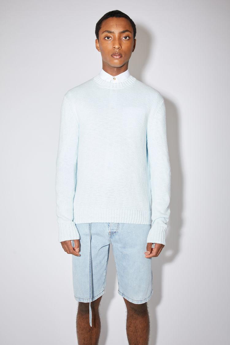 Acne Studios Cotton Sweater Light Blue In Ecru Beige