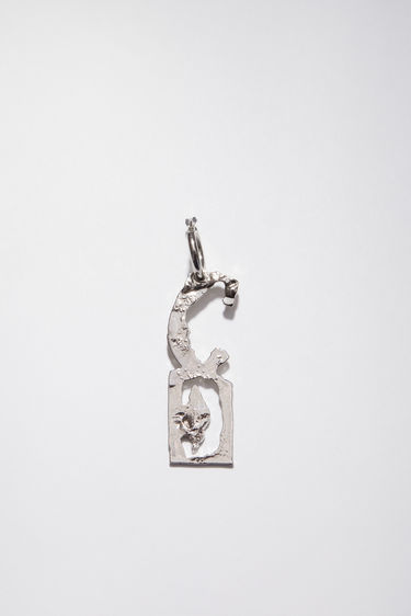Acne Studios silver earring is crafted with a hammered pendant and features a stencil of the letter 'C', then secured via a hinge fastening.