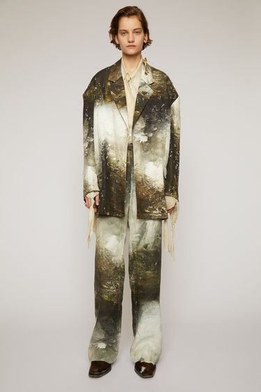 Acne Studios brown/white suit jacket is crafted from crinkled linen and features a painting of Swedish nature by August Strindberg with hand-embellished crystals. It's shaped to an oversized fit with a single-breasted buttoned front and dropped shoulder seams.