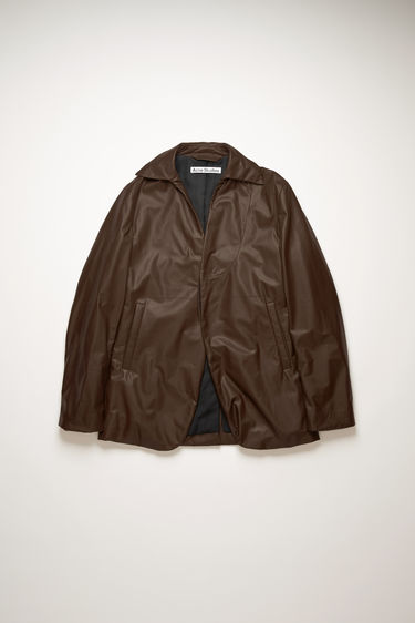 Acne Studios dark brown suit jacket is crafted from soft, calf leather with light padding and shaped to a single-breasted silhouette with a point collar and welt pockets.