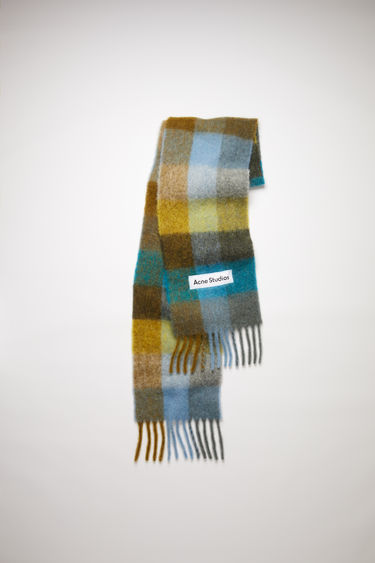 Acne Studios olive green/turquoise blue/grey large scale check scarf is made of an alpaca blend with fringed ends.
