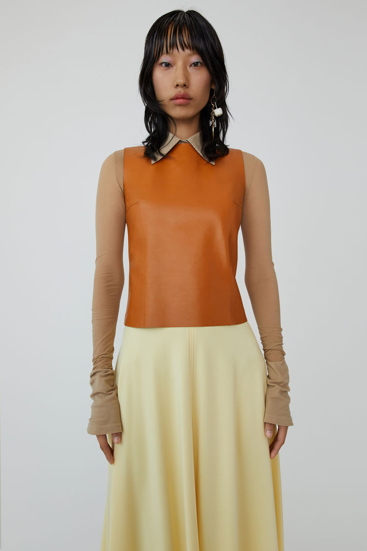 Glossy Sleeveless Shirt Cognac Brown by Acne Studios
