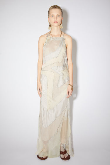Acne Studios light grey patchwork evening dress is made of silk habotai. In collaboration with Ben Quinn.