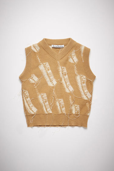 Acne Studios camel brown v-neck sweater vest features a phone intarsia knit design and a cropped, fitted silhouette.
