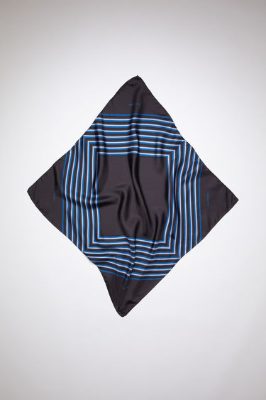 Acne Studios anthracite grey square-shaped foulard scarf is made of silk, featuring a square-striped print.