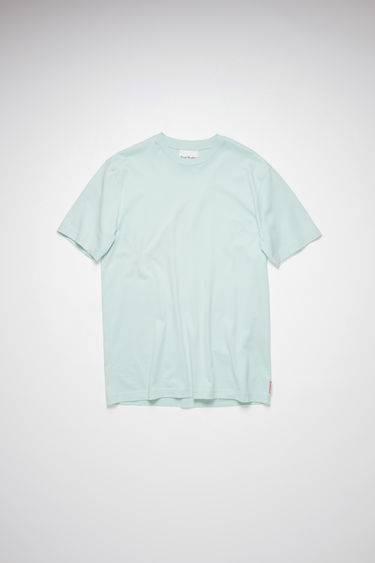 Acne Studios sea foam green high neck t-shirt is made of cotton, featuring an Acne Studios logo tab on the lower side.