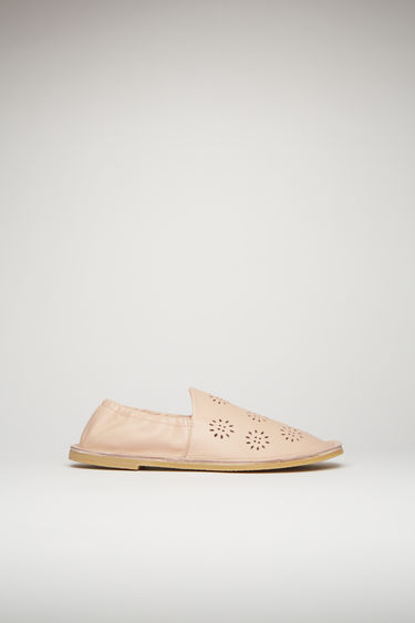 Acne Studios dusty pink loafers are crafted from flower-perforated leather to a square-toe silhouette and set on a crepe rubber sole with elasticated cuffs for optimum comfort.