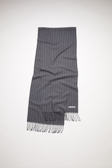 Acne Studios grey striped, fringed scarf is made of wool.