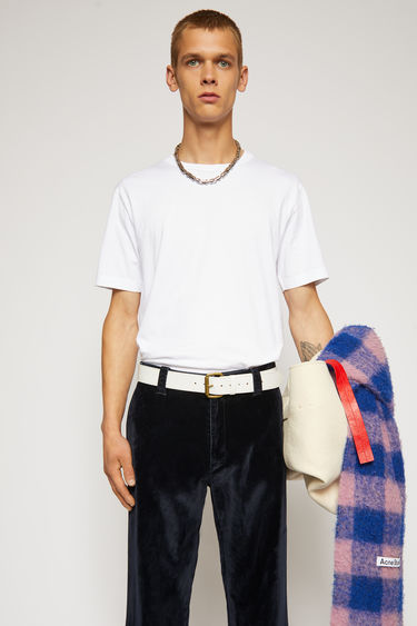Acne Studios optic white t-shirt is cut to a slim fit from soft cotton jersey and completed with a ribbed crew neck and short sleeves.