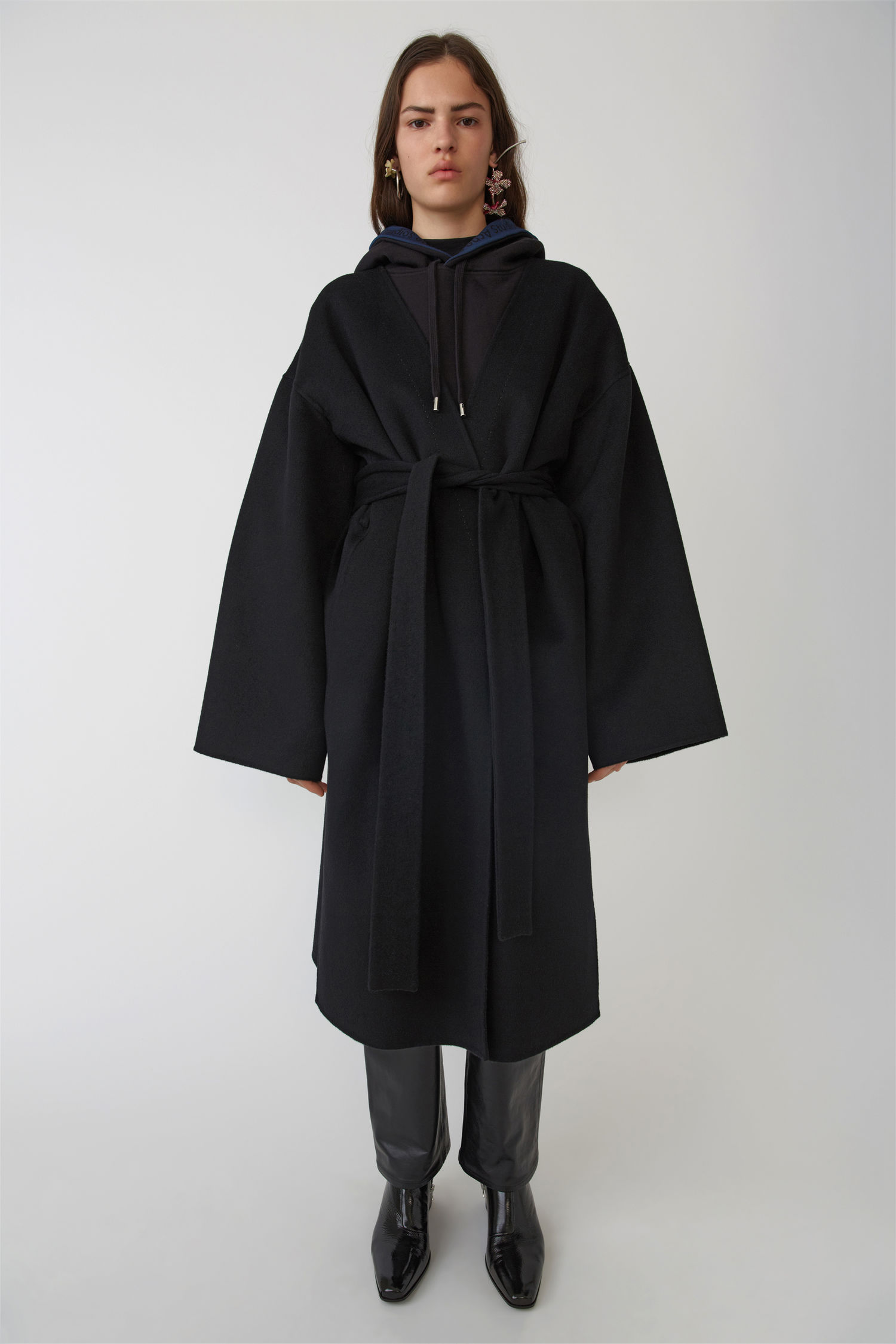 ACNE STUDIOS Poncho coat black melange