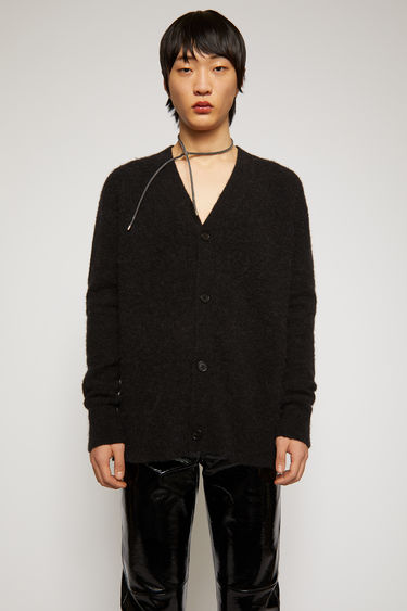 Acne Studios anthracite grey cardigan is knitted from soft alpaca and wool-blend yarn and has a V neckline and drop-shoulder sleeves to frame the relaxed shape.