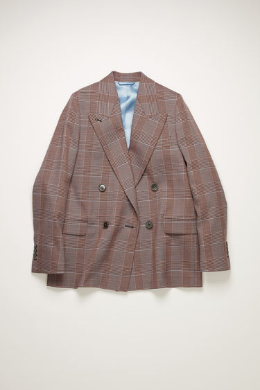 Acne Studios pink/purple suit jacket is crafted to a boxy silhouette from a checked wool-blend and has lightly padded shoulders, peak lapels and a double-breasted front.