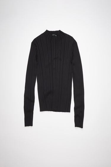 Acne Studios black irregular rib knit sweater has a mock neck with a fitted, elongated silhouette.