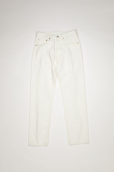 Acne Studios white jeans are made from rigid denim with a deep rise and a loose leg which achieves a standard straight leg.