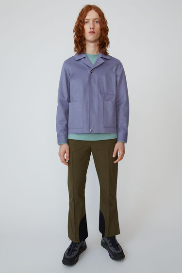 Acne Studios cold lilac cotton twill jacket with centre front snap closures and a button top.