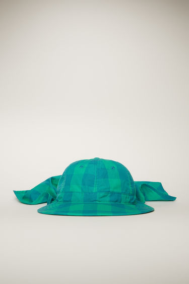 Acne Studios emerald green safari hat is patterned with seasonal check design and features a wide brim and a neck shield.