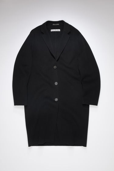 Acne Studios black single-breasted coat is made of wool with a classic fit.