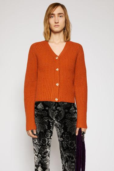 아크네 스튜디오 Acne Studios Ribbed wool cardigan pumpkin orange