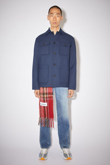 Acne Studios spruce blue shirt jacket is made of fluid twill fabric with a classic fit.