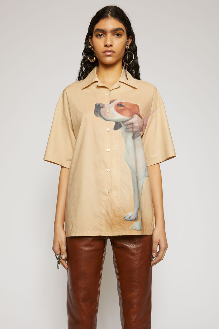 Acne Studios Dog-print bowling shirt Beige