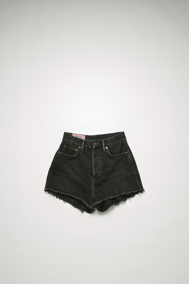 Acne Studios black denim shorts is treated with a stone wash for vintage appeal and shaped to a high-rise silhouette with cropped, wide legs.
