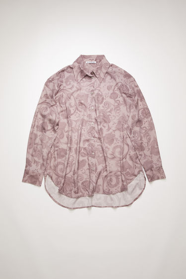 Acne Studios lilac purple shirt is crafted from lightweight crepe for a soft, fluid drape and printed all-over with floral motifs.